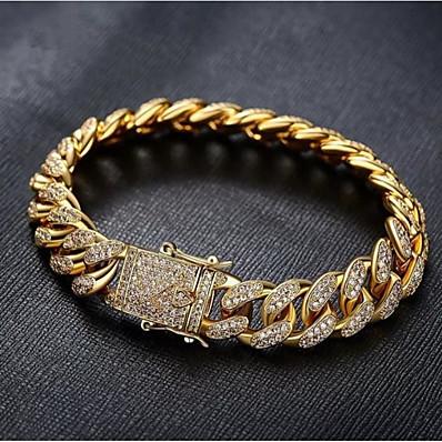 preiswerte Schmuck für Herren-Herrn Weiß Armband Kubanischer Link Gewebe Modisch Aleación Armband Schmuck Gold / Silber Für Party