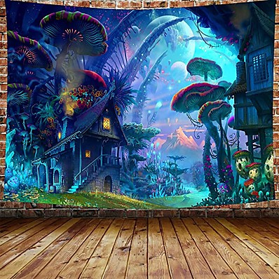 cheap Home Decor-Wall Tapestry Art Decor Blanket Curtain Picnic Tablecloth Hanging Home Bedroom Living Room Dorm Decoration Cartoon Fantasy Fairy Tale Mushroom Forrest House