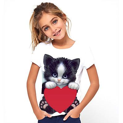 abordables ENFANTS-t-shirt à imprimé graphique de chat pour enfants filles mignon col rond manches courtes t-shirt de salon tops