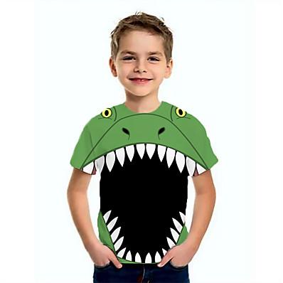 abordables Vêtements Garçons-Enfants Garçon Basique Dinosaure Animal Imprimé Manches Courtes Tee-shirts Vert