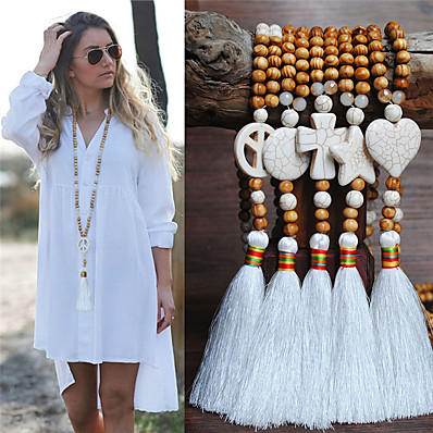 cheap Women's Jewelry-Women's Necklace Long Necklace Tassel European Trendy Ethnic Fashion Wood Stone 90 cm Necklace Jewelry For Street Birthday Party Beach Festival