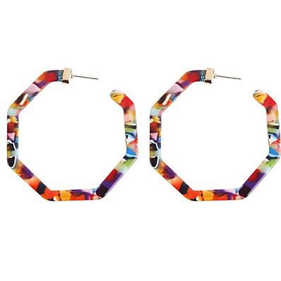 cheap Jewelry-Women's Hoop Earrings Geometrical Precious Earrings Jewelry Light Brown / Dark Brown / Green For Daily 1 Pair