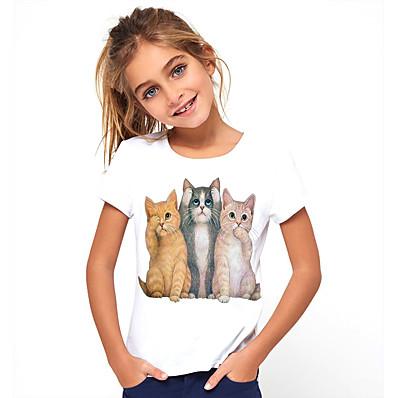 abordables Vêtements Filles-Enfants Fille Basique Chat Animal Imprimé Manches Courtes Tee-shirts Blanche