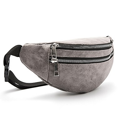 cheap Bags-Men's Bags PU Leather Fanny Pack Zipper Solid Color 2020 Daily Red Brown Gray