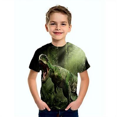 cheap Kids-Kids Boys' T shirt Tee Short Sleeve Dinosaur Animal Print Green Children Tops Summer Basic Cool