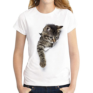 cheap Valentine's Gifts-Women's T shirt Cat Graphic 3D Print Round Neck Tops 100% Cotton Basic Basic Top Dark Brown Lace Cat White Cat