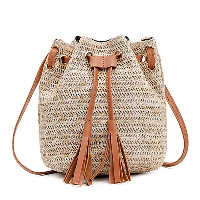 cheap Bags-Women's Bags Straw Bucket Bag / Crossbody Bag for Daily Blushing Pink / Fuchsia / Brown / Straw Bag