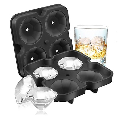 cheap Kitchen & Dining-4 Grid Diamond Ice Cube Tray Reusable Ice Cubes Maker Silicone Ice Cream Molds Form Chocolate Mold Whiskey Party Bar Tools