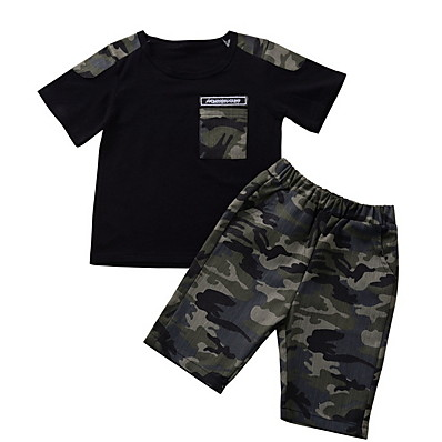 cheap Baby & Toddler Boy-Baby Boys' Basic Print Short Sleeve Regular Clothing Set Black