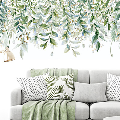 cheap Wall Stickers-Meandering Green Leaves Botanical Wall Stickers Plane Wall Stickers Decorative Wall Stickers PVC Home Decoration Wall Decal Wall Decoration 2pcs 90*30cm