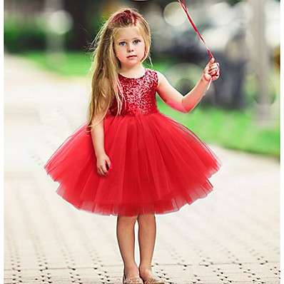 preiswerte Kinder-Baby Wenig Kleid Mädchen Pailletten Rosa Schwarz Rote Aktiv Kleider