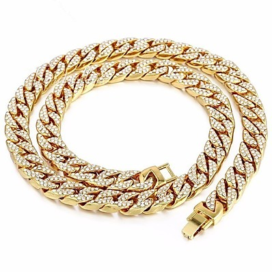 cheap Men's Jewelry-Men's Gold Crystal Long Necklace Dollars Punk Alloy Gold 45 cm Necklace Jewelry For Street