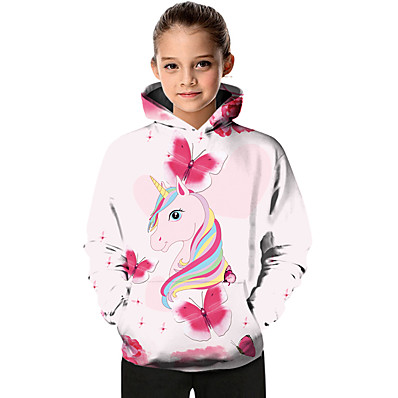 cheap KIDS-Kids Toddler Girls' Active Basic Fantastic Beasts Unicorn Color Block Geometric Animal Print Long Sleeve Hoodie & Sweatshirt Blushing Pink