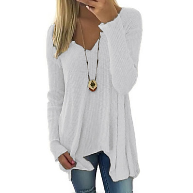 cheap Knit Tops-Women's Casual Solid Colored Pullover Long Sleeve Long Sweater Cardigans Deep V Spring Fall White Black Blue