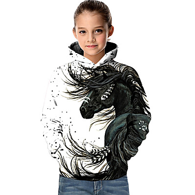 cheap Girls' Clothing-Kids Toddler Girls' Active Basic Horse Fantastic Beasts Geometric 3D Animal Print Long Sleeve Hoodie & Sweatshirt White