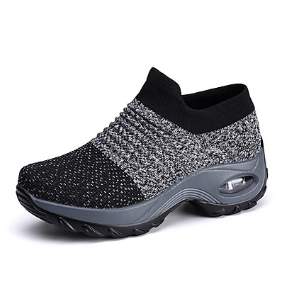 cheap Sneakers-Women's Trainers Athletic Shoes Sneakers Round Toe Sporty Casual Daily Walking Shoes Knit Tissage Volant Winter Black Purple Gray
