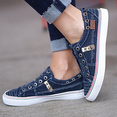 cheap Shoes-Women's Sneakers Flat Heel Round Toe Daily Canvas Denim Solid Colored White Purple Blue