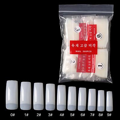cheap Nail Care & Polish-Natural Acrylic Nail Tips - French Nail Tip 500pcs Fake Nails Half Cover False Nail with Case for Nail Salons and DIY Nail Art 10 Sizes