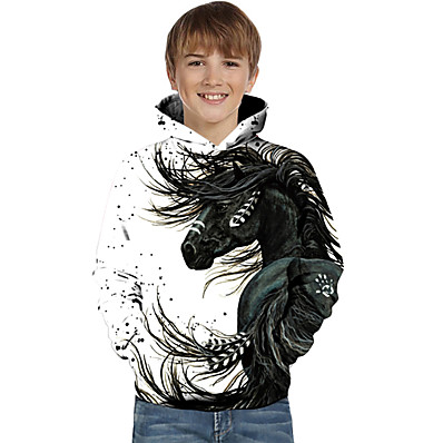 cheap Boys' Clothing-Kids Toddler Boys' Active Basic Horse Fantastic Beasts 3D Tie Dye Animal Print Long Sleeve Hoodie & Sweatshirt White