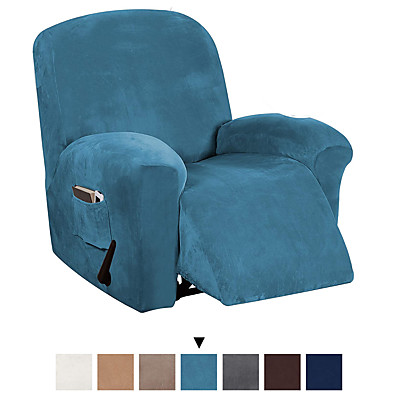 cheap Home Textiles-Recliner Chair Cover Velvet Plush 1-Piece Recliner Covers for Large Recliner, Soft Thick Luxury Velvet Furniture Protector with Elastic Bottom, Anti-Slip Foams Attached