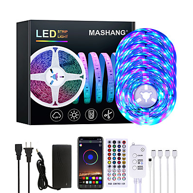 abordables Bandes Lumineuses LED-Mashang 20m LED Strip Lights RGB LED Light Strip Music Sync 1200leds LED Strip 2835 SMD Changement de couleur LED Light Strip Contrôleur Bluetooth et 40 touches à distance LED pour la maison