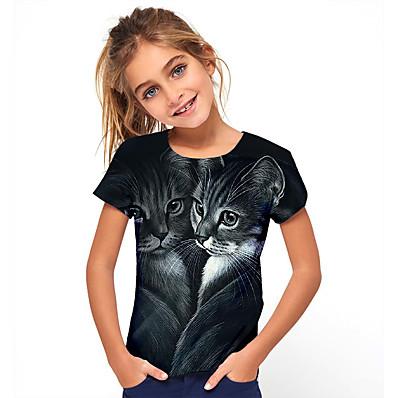 abordables ENFANTS-t-shirt basique à manches courtes chat animal vacances enfant fille noir
