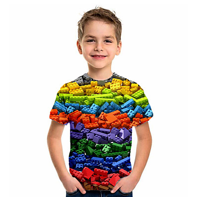 cheap Boys' Clothing-Kids Boys' Basic Holiday Geometric Print Short Sleeve Tee Purple
