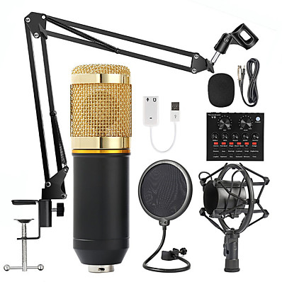 cheap Audio & Video-BM 800 Studio Microphone Kits With Filter V8 Sound Card Condenser Microphone Bundle Record Ktv Karaoke Smartphone Microphone