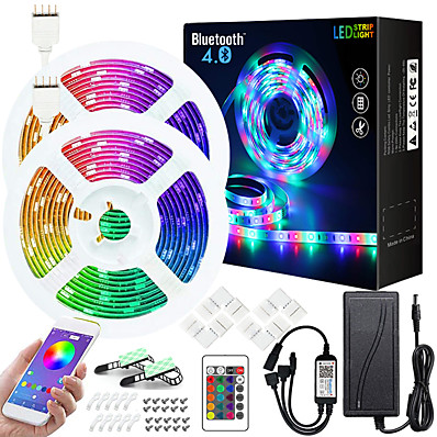 cheap LED Strip Lights-50ft  2x7.5M Music Sync Colour Changing RGB LED Strip Lights Starry Sky Projector Light Dream Cloud Pendant Light Combination Built-in Bluetooth App Controlled LED Lights 5050 RGB LED Light Strip Kit