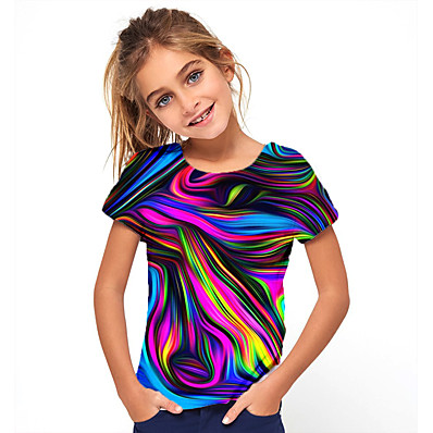 cheap KIDS-Kids Girls' Basic Holiday Geometric Print Short Sleeve Tee Rainbow