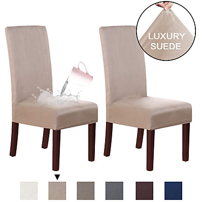 cheap Home Textiles-Chair Cover Solid Colored Flocking Polyester Slipcovers