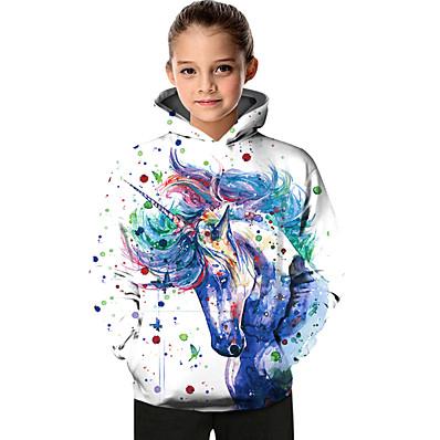 cheap Girls' Clothing-Kids Toddler Girls' Active Basic Unicorn Geometric Color Block Tie Dye Print Long Sleeve Hoodie & Sweatshirt White