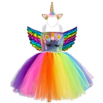 cheap Girls' Clothing-Kids Girls' Active Vintage Cute Unicorn Rainbow Patchwork Halloween Sequins Lace up Patchwork Sleeveless Knee-length Dress Blue