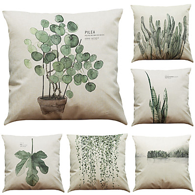 cheap Home Decor-1 Set of 6 Pcs Botanical Series  Decorative Linen Throw Pillow Case Cushion Cover 18 x 18 inches 45 x 45 cm