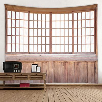 abordables Décoration Murale-fenêtre en bois vintage numérique imprimé tapisserie décor art mural nappes couvre-lit pique-nique couverture plage jeter tapisseries coloré chambre hall dortoir salon suspendu