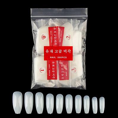 cheap Nail Care & Polish-Coffin Nails 600PCS Fake Nails Long Ballerina Nails Full Cover Artificial Nails Natural 10 Sizes