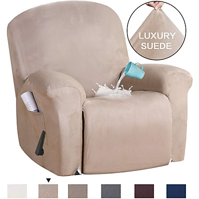 cheap Home Textiles-Stretch Recliner Slipcovers 1-Piece Modern Solid color waterproof suede Sofa Furniture Protector Fit Stretch Stylish Recliner Cover