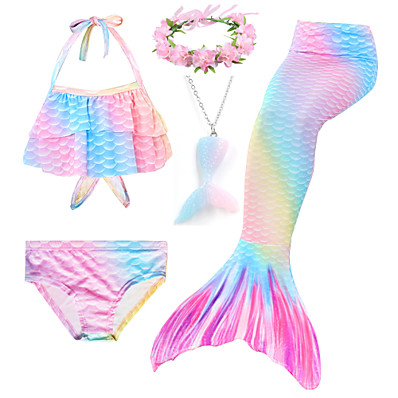 cheap Kids-Kids Girls' Bikini 5pcs Swimsuit Mermaid Tail Halter Print Swimwear Rainbow Purple Blushing Pink Party Cosplay Costumes Princess Bathing Suits