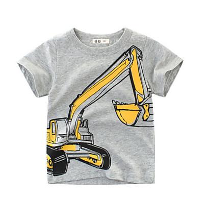 cheap Boys' Clothing-Kids Boys' T shirt Tee Short Sleeve Geometric Crewneck Blue Yellow Gold Children Tops Summer Spring & Summer Streetwear Children's Day Regular Fit 2-8 Years