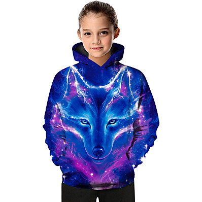 cheap KIDS-Kids Toddler Girls' Active Basic Wolf Geometric Color Block Animal Print Long Sleeve Hoodie & Sweatshirt Blue