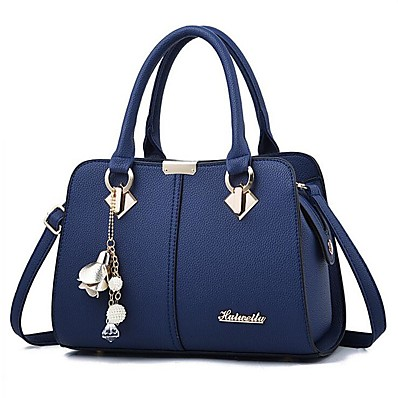 cheap Bags-Women's Bags PU Leather Satchel Shoulder Messenger Bag Top Handle Bag Zipper Handbags Daily Wine Black Royal Blue Beige