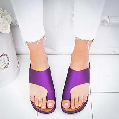 abordables Sandales pour Femme-Femme Sandales Sandales plates Chaussures de confort Sandales Bunion Talon Plat Bout ouvert Simple Quotidien Polyuréthane Couleur Pleine Eté Léopard Noir Violet