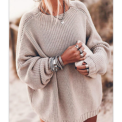 cheap Knit Tops-Women's Solid Colored Pullover Long Sleeve Sweater Cardigans Crew Neck Fall Winter Blue Khaki
