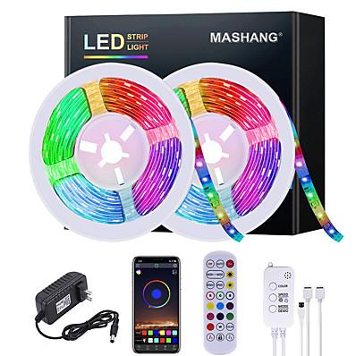 cheap LED Strip Lights-5M 10M 15M 20M LED Strip Lights RGB Waterproof LED Light Strip Music Sync LED 2835 SMD Color Changing LED Strip Light and 24 Keys Remote Bluetooth Controller for Bedroom Home TV Back Lights