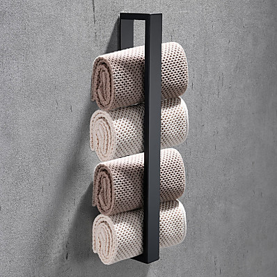 cheap Bath Accessories-16-Inch Stainless Steel Bathroom Towel Holder, Self Adhesive Bath Towel Rack,  Wall Mounted, Contemporary Style Bathroom Hardware Accessories Towel Bar, Rustproof, 3 Colors, Matte Black, Brushed, Poli