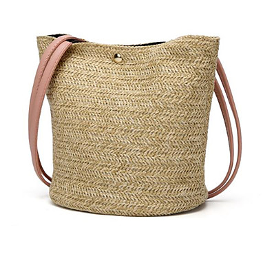 cheap Bags-Women's Bags Straw Top Handle Bag for Daily / Holiday White / Blushing Pink / Brown / Straw Bag