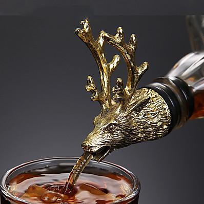 abordables Cuisine & Ustensiles-liqueur de vin spiritueux verseur tête d'animal en acier inoxydable bouchons de bouteille uniques aérateurs bar outils