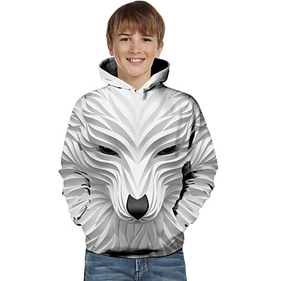 cheap Boys' Clothing-Kids Toddler Boys' Active Basic Wolf Striped Geometric Animal Print Long Sleeve Hoodie & Sweatshirt White