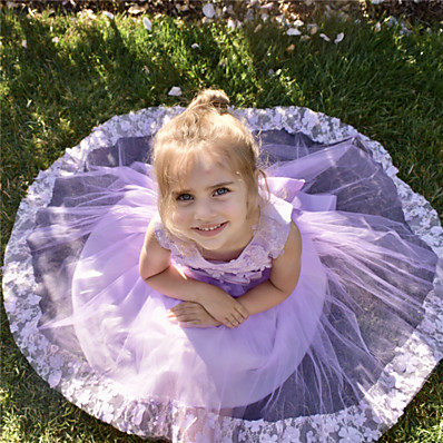 billige Børn-børns pigerblomst sød fest hvid lyserød ensfarvet lagnet mesh ærmeløs bomuld polyester kjole hvid