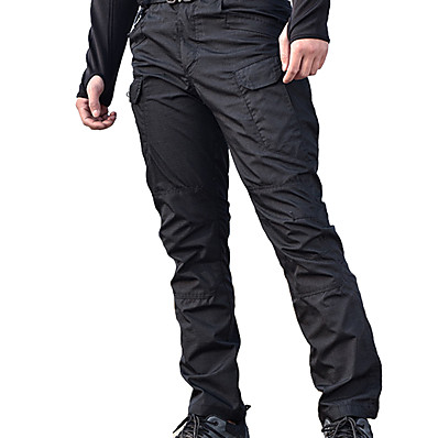 cheap Camping, Hiking & Backpacking-Men's Hiking Pants Trousers Hiking Cargo Pants Tactical Pants Solid Color Outdoor Regular Fit Waterproof Windproof Breathable Multi-Pocket Pants / Trousers Bottoms Black Grey Khaki Green Hunting